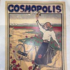 Coleccionismo deportivo: PÓSTER VINTAGE DE LA MARCA COSMOPOLIS CYCLOS CYCLOS BIKE. Lote 269317463