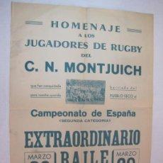 Coleccionismo deportivo: HOMENAJE A LOS JUGADORES DE RUGBY DEL C.N. MONTJUICH-BAILE EN SU HONOR-VER FOTOS-(K-3646). Lote 274401273