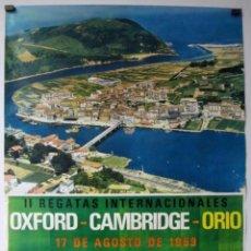 Coleccionismo deportivo: OXFORD - CAMBRIDGE - ORIO. HISTÓRICO CARTEL DE LA II REGATAS INTERNACIONES DEL AÑO 1969.. Lote 275051493