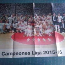 Coleccionismo deportivo: PÓSTER REAL MADRID CAMPEONES DE LIGA 2015 - 2016 BALONCESTO. Lote 275652718