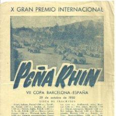 Coleccionismo deportivo: C3.- PEÑA RHIN-X GRAN PREMIO INTERNACIONAL- LISTA DE INSCRITOS Y PRECIOS LOCALIDADES-CARTEL PEQUEÑO. Lote 277177883