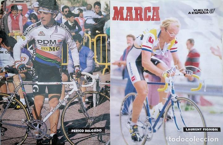 POSTER VUELTA CICLISTA A ESPAÑA 1987. LAURENT FIGNON - PERICO DELGADO (Coleccionismo Deportivo - Carteles otros Deportes)