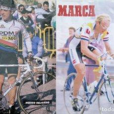 Coleccionismo deportivo: POSTER VUELTA CICLISTA A ESPAÑA 1987. LAURENT FIGNON - PERICO DELGADO. Lote 286489753