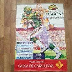 Coleccionismo deportivo: CARTEL DE BARCELONA DRAGONS, FUTBOL PROFESIONAL AMERICANO. RUGBI. WORLD LEAGUE. Lote 288029248