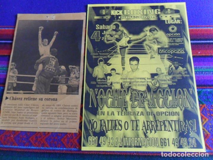 CARTEL KICK BOXING NOCHE DE ACCIÓN MIGUEL ÁNGEL TYPHOON BERLANGA. REGALO DE JULIO CÉSAR CHÁVEZ. MBE. (Coleccionismo Deportivo - Carteles otros Deportes)