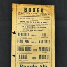 Coleccionismo deportivo: AÑOS 20 - BOXEO - RICARDO ALIS - CARTEL / PROGRAMA - TEATRO CINE COLON - BARCELONA. Lote 292534208