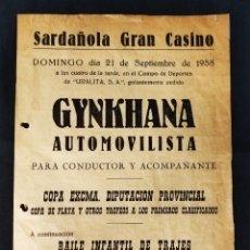 Coleccionismo deportivo: 1958 - GYNKANA AUTOMOVILISTA - COPA EXCMA. DIP. PROVINCIAL - SARDAÑOLA GRAN CASINO -. Lote 292536803