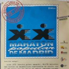 Coleccionismo deportivo: POSTER MARATÓN POPULAR DE MADRID 1997 EDICIÓN XX ANIVERSARIO. Lote 296810818