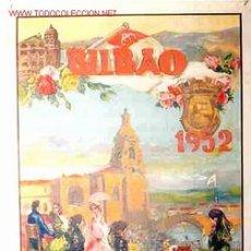 CARTEL TOROS Y FIESTAS BILBAO 1952 , LITOGRAFIA, ORIGINAL , REUS .