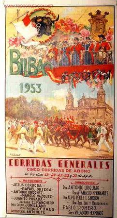 CARTEL TOROS Y FERIAS Y FIESTAS BILBAO 1953 , ORIGINAL , REUS (Coleccionismo - Carteles Gran Formato - Carteles Ferias, Fiestas y Festejos)