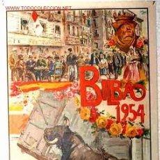 Affissi Fiera: CARTEL TOROS Y FIESTAS BILBAO 1954. Lote 24542138