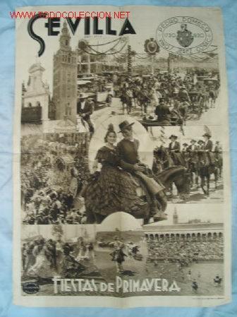 CARTEL FIESTAS PRIMAVERA SEVILLA AÑO 1936 (Coleccionismo - Carteles Gran Formato - Carteles Ferias, Fiestas y Festejos)