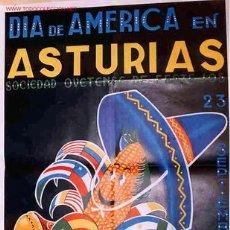 Carteles Feria: CARTEL FERIAS ASTURIAS DIA DE LAS AMERICAS 1958. Lote 23681567