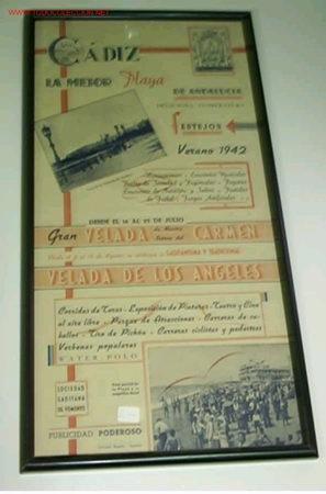 CARTEL DE LA VELADA DE LOS ANGELES EN CADIZ EL VERANO 1942 (Coleccionismo - Carteles Gran Formato - Carteles Ferias, Fiestas y Festejos)