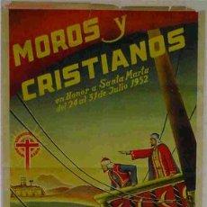 Carteles Feria: CARTEL MOROS Y CRISTIANOS FIESTAS VILLAJOYOSA 1952 ALICANTE LITOGRAFICO. Lote 15696559