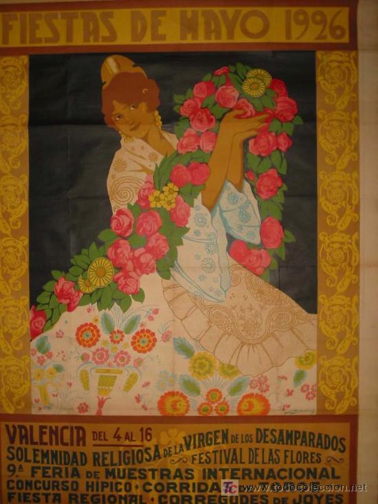 RARO Y EXCEPCIONAL CARTEL FIESTAS DE MAYO VALENCIA 1926. DIBUJO J.BARREIRA. 160X120 (Coleccionismo - Carteles Gran Formato - Carteles Ferias, Fiestas y Festejos)