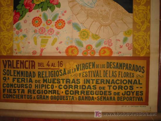 Carteles Feria: RARO Y EXCEPCIONAL CARTEL FIESTAS DE MAYO VALENCIA 1926. DIBUJO J.BARREIRA. 160x120 - Foto 3 - 23148770