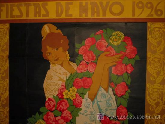 Carteles Feria: RARO Y EXCEPCIONAL CARTEL FIESTAS DE MAYO VALENCIA 1926. DIBUJO J.BARREIRA. 160x120 - Foto 4 - 23148770