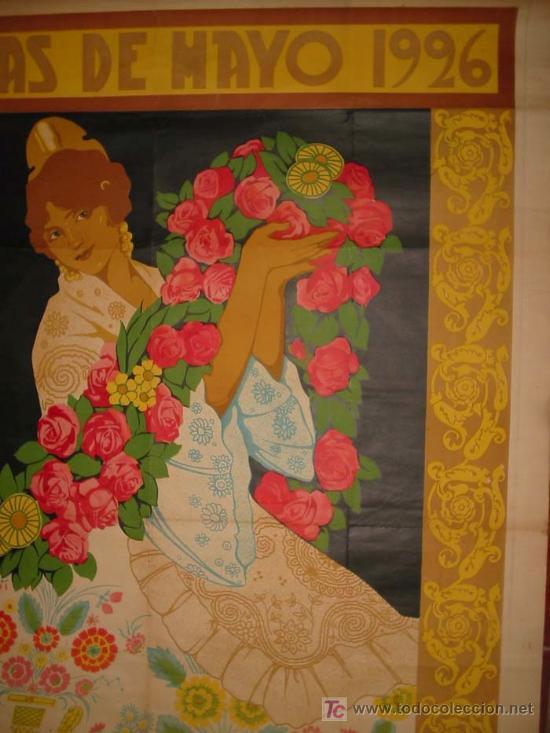 Carteles Feria: RARO Y EXCEPCIONAL CARTEL FIESTAS DE MAYO VALENCIA 1926. DIBUJO J.BARREIRA. 160x120 - Foto 5 - 23148770
