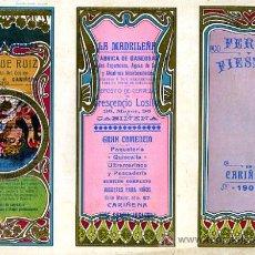 Carteles Feria: CARTEL DE FERIAS Y FIESTAS CARIÑENA , ZARAGOZA , JUNIO 1906 ,CROMO LITOGRAFIA , MODERNISTA. Lote 21960174