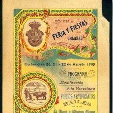Carteles Feria: CARTEL DE FERIAS Y FIESTAS CALAÑAS , HUELVA , AGOSTO 1905 , LITOGRAFIA . CORRIDAS DE TOROS. Lote 23399501