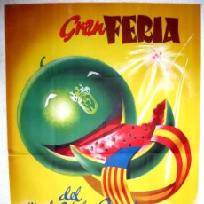 Carteles Feria: CARTEL JATIVA , VALENCIA , FERIAS Y FIESTAS 1955 ( VERNIA ) , LITOGRAFIA. Lote 22720475