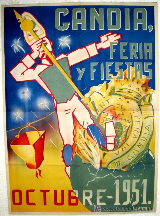 CARTEL GANDIA , VALENCIA , FERIAS Y FIESTAS 1951 ( J. FERRER ) , LITOGRAFIA (Coleccionismo - Carteles Gran Formato - Carteles Ferias, Fiestas y Festejos)