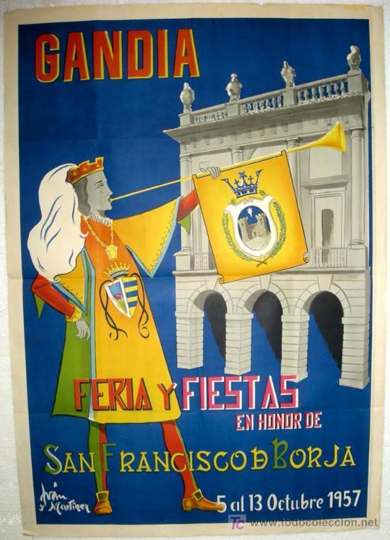 CARTEL GANDIA , VALENCIA , FERIAS Y FIESTAS 1957 ( IVAN MARTINEZ ) , LITOGRAFIA (Coleccionismo - Carteles Gran Formato - Carteles Ferias, Fiestas y Festejos)