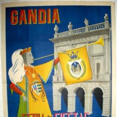 Carteles Feria: CARTEL GANDIA , VALENCIA , FERIAS Y FIESTAS 1957 ( IVAN MARTINEZ ) , LITOGRAFIA. Lote 15955169