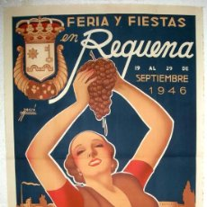 Carteles Feria: PRECIOSO CARTEL REQUENA , VALENCIA , FERIAS Y FIESTAS 1957 ( MASSIA ) , LITOGRAFIA. Lote 23506466
