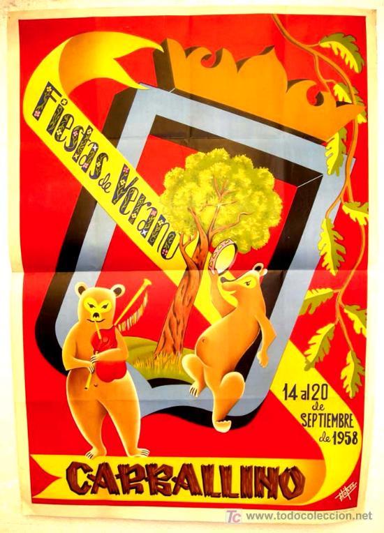 CARTEL CARBALLINO , ORENSE , FERIAS Y FIESTAS 1958 ( F. LOPEZ ) , LITOGRAFIA (Coleccionismo - Carteles Gran Formato - Carteles Ferias, Fiestas y Festejos)