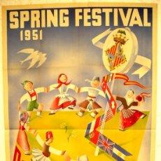 Carteles Feria: CARTEL MALLORCA 1951 SPRING FESTIVAL FOLCLORE INTERNACIONAL , ( B. BALLESTER) , LITOGRAFIA. Lote 15851009