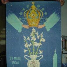 Carteles Feria: ONTENIENTE (VALENCIA) - CORONACION PONTIFICA DE LA PURISIMA PATRONA - AÑO 1954 - LITOGRAFIA. Lote 26738434