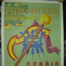 Carteles Feria: GANDIA (VALENCIA) - FERIA Y FIESTAS EN HONOR DE SAN FRANCISCO DE BORJA - AÑO 1952. Lote 26948588