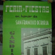 Carteles Feria: GANDIA (VALENCIA) - FERIA Y FIESTAS EN HONOR DE SAN FRANCISCO DE BORJA - AÑO 1959. Lote 27368392