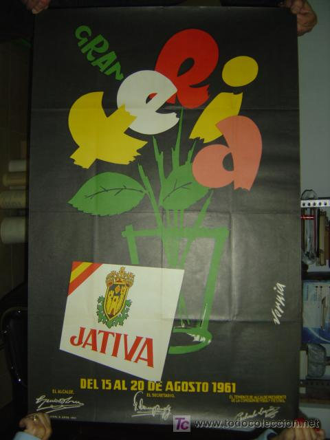 JATIVA (VALENCIA) - GRAN FERIA - AÑO 1961 (Coleccionismo - Carteles Gran Formato - Carteles Ferias, Fiestas y Festejos)