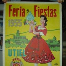 Carteles Feria: UTIEL (VALENCIA) - FERIA Y FIESTAS - AÑO 1955. Lote 27060493