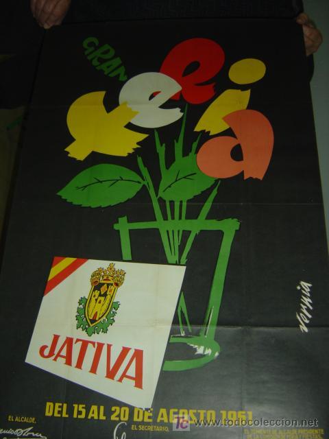 Carteles Feria: JATIVA (VALENCIA) - GRAN FERIA - año 1961 - Foto 2 - 115815220