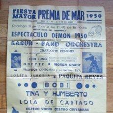 Carteles Feria: PREMIA DE MAR, FIESTA MAYOR 1950. MED. 63 CM X 43 CM. Lote 27637665