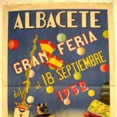 Carteles Feria: CARTEL FERIAS Y FIESTAS ALBACETE 1952, LITOGRAFIA,, SEPTIEMBRE. Lote 17158486