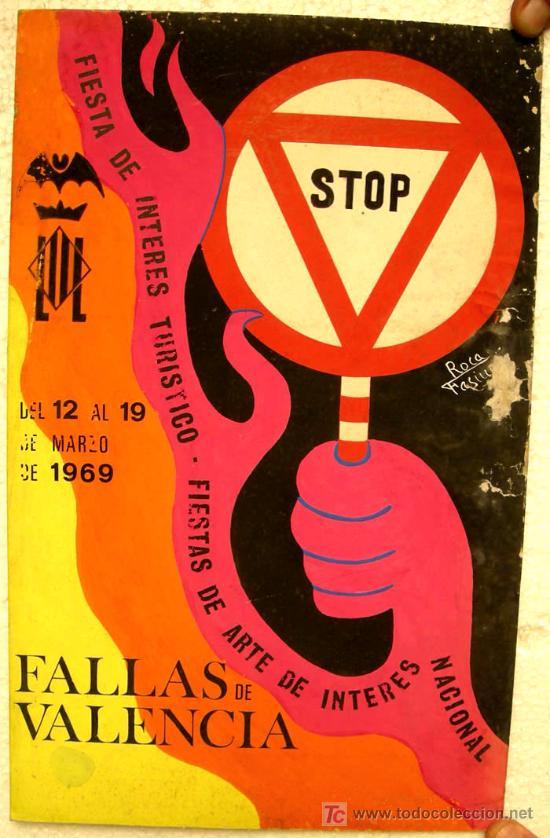 CARTEL VALENCIA FALLAS 1969 , PINTADO A MANO, PINTURA ORIGINAL (Coleccionismo - Carteles Gran Formato - Carteles Ferias, Fiestas y Festejos)