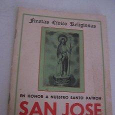 Carteles Feria: FIESTAS CÍVICO RELIGIOSAS EN HONOR A NUESTRO SANTO PATRÓN, SAN JOSÉ-VILLAFRANQUEZA-1970. Lote 21006289