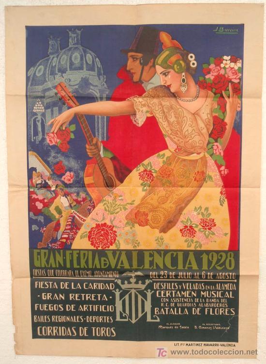 CARTEL VALENCIA , FERIA 1928, ILUSTRADO POR BARREIRA, LITOGRAFIA , ORIGINAL , MUY RARO (Coleccionismo - Carteles Gran Formato - Carteles Ferias, Fiestas y Festejos)