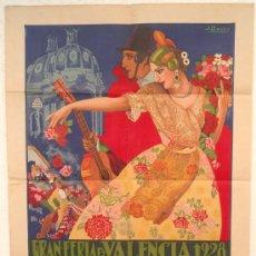 Carteles Feria: CARTEL VALENCIA , FERIA 1928, ILUSTRADO POR BARREIRA, LITOGRAFIA , ORIGINAL , MUY RARO. Lote 21550220