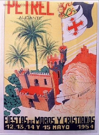 CARTEL FERIAS Y FIESTAS DE MOROS Y CRISTIANOS DE PETREL 1954, ALICANTE (Coleccionismo - Carteles Gran Formato - Carteles Ferias, Fiestas y Festejos)