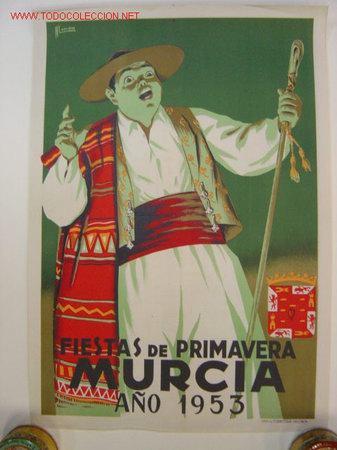 MURCIA - FIESTAS DE PRIMAVERA - AÑO 1953 - ILUSTRADOR: A. LAORDEN (Coleccionismo - Carteles Gran Formato - Carteles Ferias, Fiestas y Festejos)