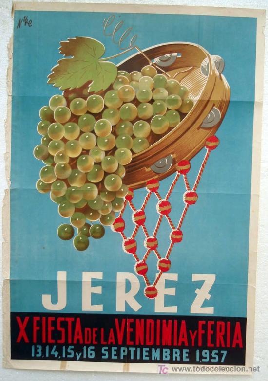CARTEL JEREZ 1957 , FERIA Y FIESTA DE LA VENDIMIA, LITOGRAFIA, ILUSTRADO POR NIKE (Coleccionismo - Carteles Gran Formato - Carteles Ferias, Fiestas y Festejos)