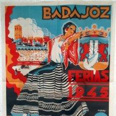 Carteles Feria: CARTEL BADAJOZ 1945 , FERIA Y FIESTAS DE SAN JUAN , ILUSTRADO POR CHANO ,GRANDE , LITOGRAFIA. Lote 19562094