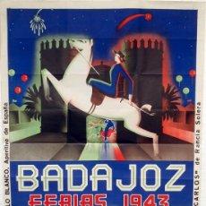 Carteles Feria: CARTEL BADAJOZ 1943 , FERIA Y FIESTAS DE SAN JUAN , ILUSTRADO POR CHANO ,GRANDE , LITOGRAFIA. Lote 19562090