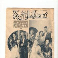 Carteles Feria: HOJAS REPORTAJE.AÑO1934.MADRID.CARNAVAL.EL BAILE DE LAS REGIONES.TRAJES REGIONALES.. Lote 11380695